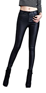 Womens Faux Leather Leggings Stretch Skinny Pants with 4 Pockets