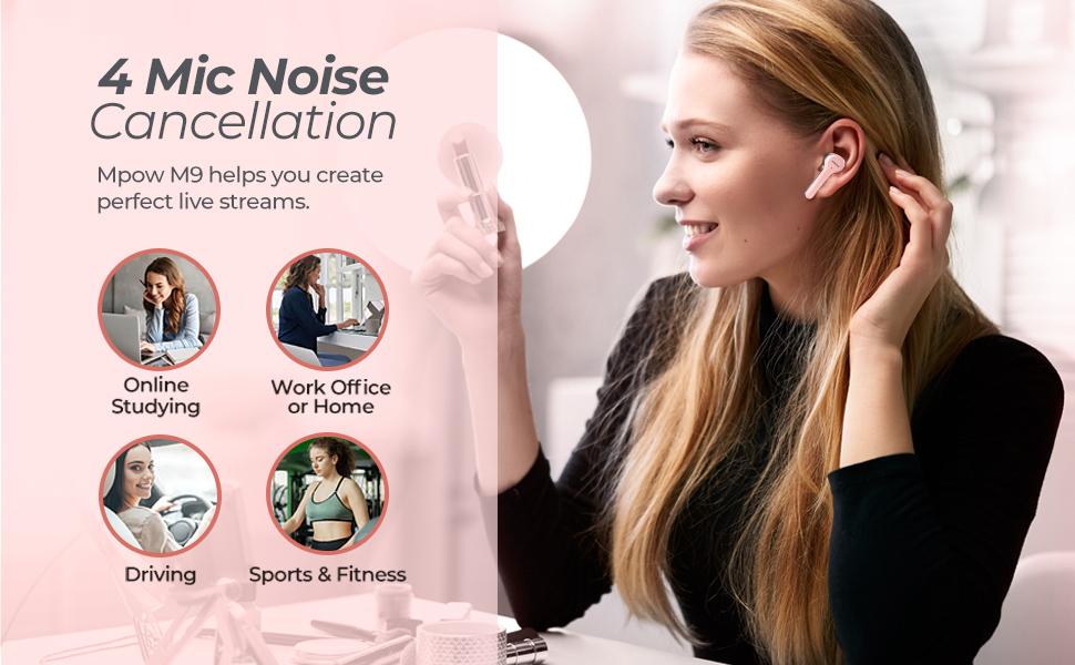 pink bluetooth earphones wireless in-ear girl earbuds sport headphones