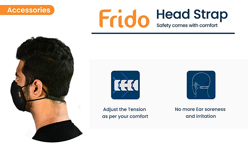 Frido washable and reusable face mask with head band