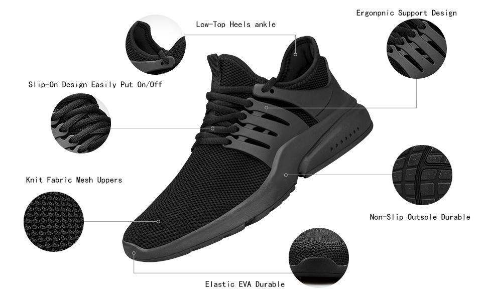 Feetmat Mens Non Slip Resistant Road Running Gym Shoes