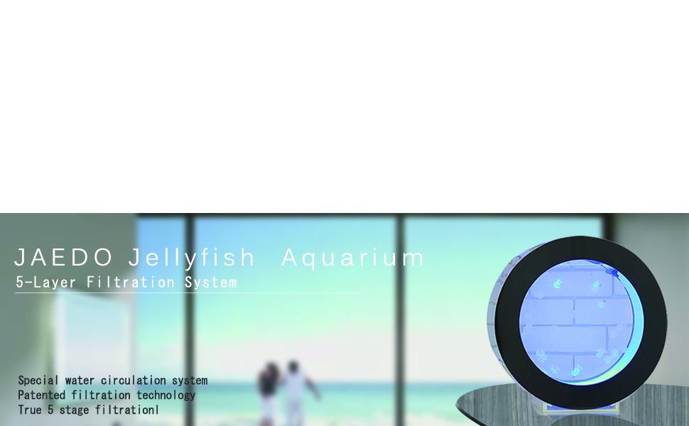 JAEDO Jellyfish Aquarium Fish Aquarium Intelligent Water Circulation Function of 5-Layer Filtration System of Jellyfish Aquarium