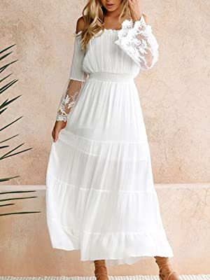 Off Shoulder Maxi Dress Bell Sleeve Lace Patchwork High Waist Cocktail Wedding Bridesmaid Dress