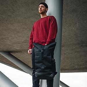 Rolltop Johnny Urban Backpack Black