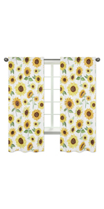 Yellow, Green and White Sunflower Boho Floral Window Treatment Panels Curtains
