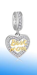Dangle 18k Golden Best Mom Charms fits Pandora Style Bracelet