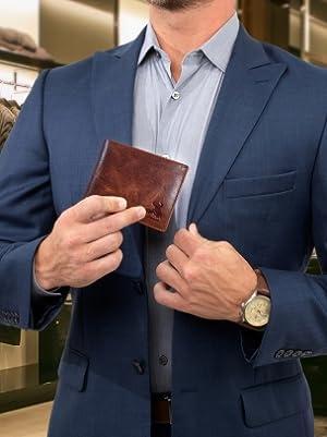 mens bifold wallet rfid blocking genuine leather billfold gift father college cowboy biker office