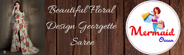Georgette Saree Chiffon Wedding Party Sari PIsta Floral