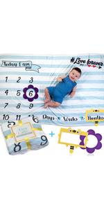 blue baby milestone blanket