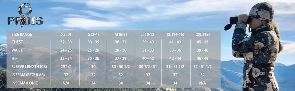 Prois Size Chart