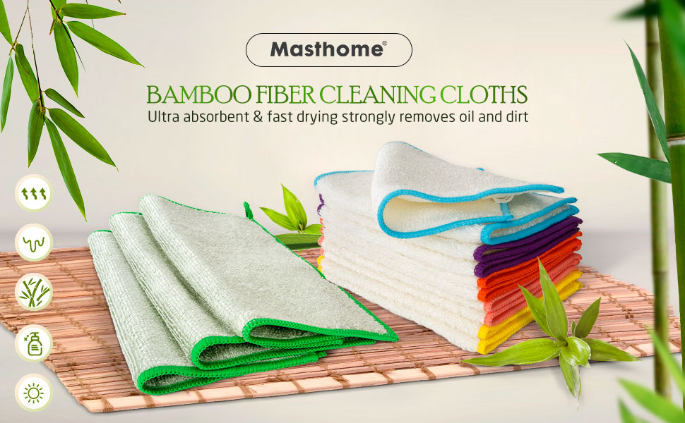 Bamboo Fiber Dish Cleaning Cloth-Masthome 1