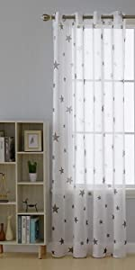 Sheer curtains voile drapes star sheer window curtains