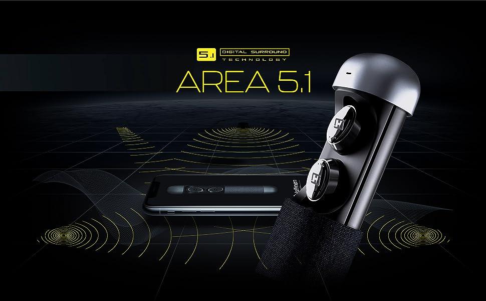 Hoffman - Area 5.1 | Auriculares Bluetooth, Tecnología 5.1 Digital Surround, Resistentes al Agua, batería de 24h, Reducción del Ruido, Asistente por ...