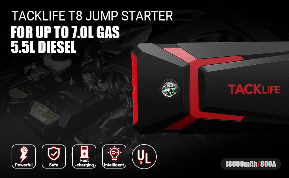 tacklife t8 800a peak 18000mah car jump starter