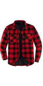 Men's Warm Plaid Fleece Shirt Jacket Winter Sherpa Lined Flannel Shirt Jackets