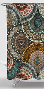 Ethnic Mandala Florals Pattern Shower Curtain