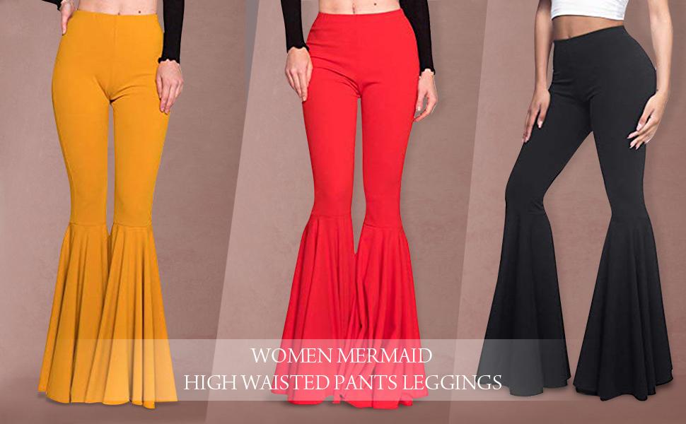 Boho Women Retro High Waist Casual Long Trousers Ruffles Flare Bell Bottom Pants