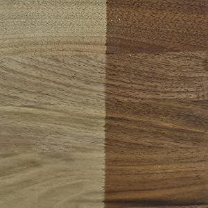 Close up of oiled versus non oiled walnut cutting board