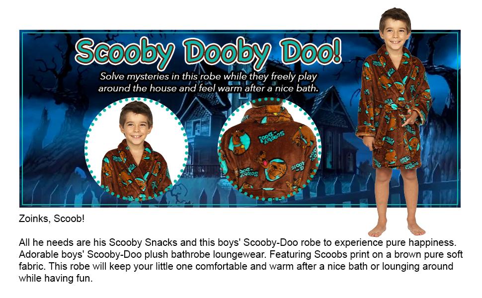 Scooby Dooby Doo boys bath robe pajama sleepwear loungewear pj pjs plush movie shaggy snacks