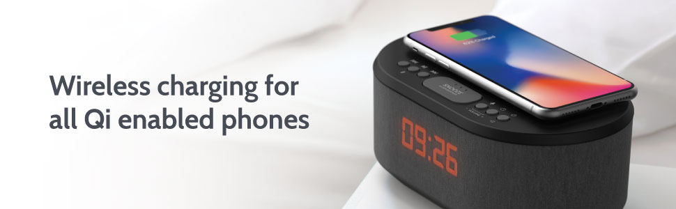 Dawn: Bedside Radio Alarm Clock with USB Charger, Bluetooth Speaker, QI Wireless Charging Dual Alarm