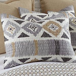 santa fe shams quilt cotton aztec grey black beige