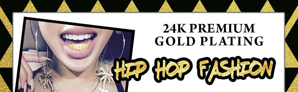 Grillz placcato in oro 24K con denti aguzzi per bocca set denti Hip Hop superiore inferiore 2 barre di modellatura extra