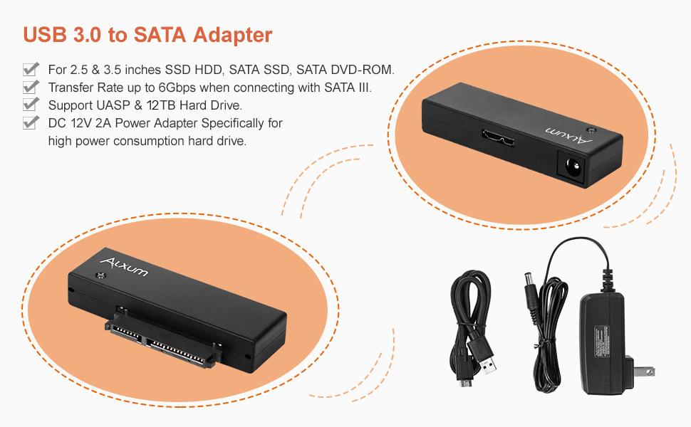 YVUYVJH Convertidor de Adaptador USB 3.0 a Sata Cable convertidor de Cable USB3.0 para Adaptador SSD Samsung Seagate WD 2.5 3.5 HDD