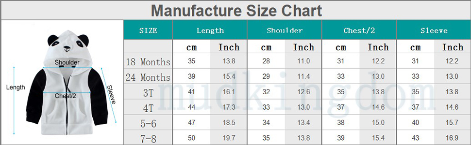 manufacture size chart