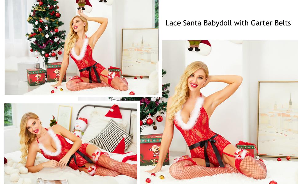 christmas outfits for women slutty lingerie for women santa red lingerie
