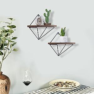 triangle wall shelf, triangle shelves, hanging shelves for bedroom, diamond shelf