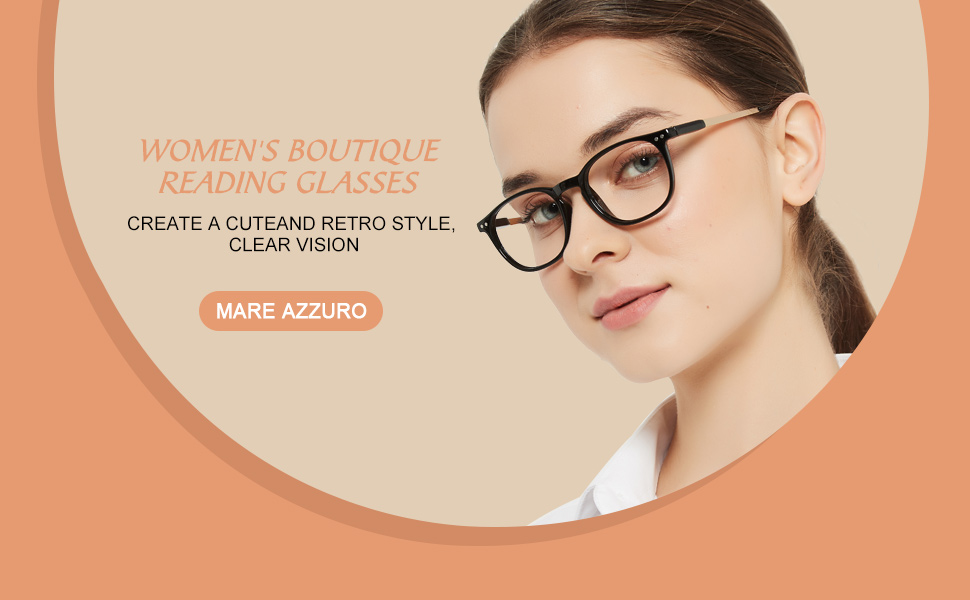 MARE AZZURO Round reading glasses women trendy metal readers balck brown red transparent