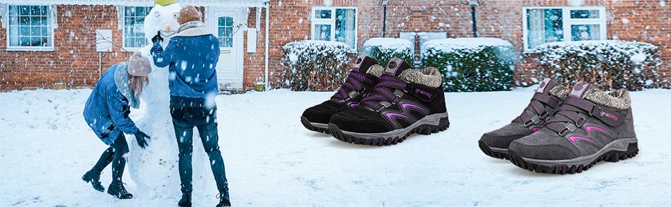 Ladies Leather Lightweight Waterproof Walking Hiking Trekking Comfort Memory Foam Shoe