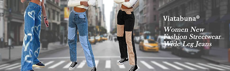 Patchwork Jeans Women High Waisted Straight Leg Stretch Denim Pants Girls Fashion Color Block Patch