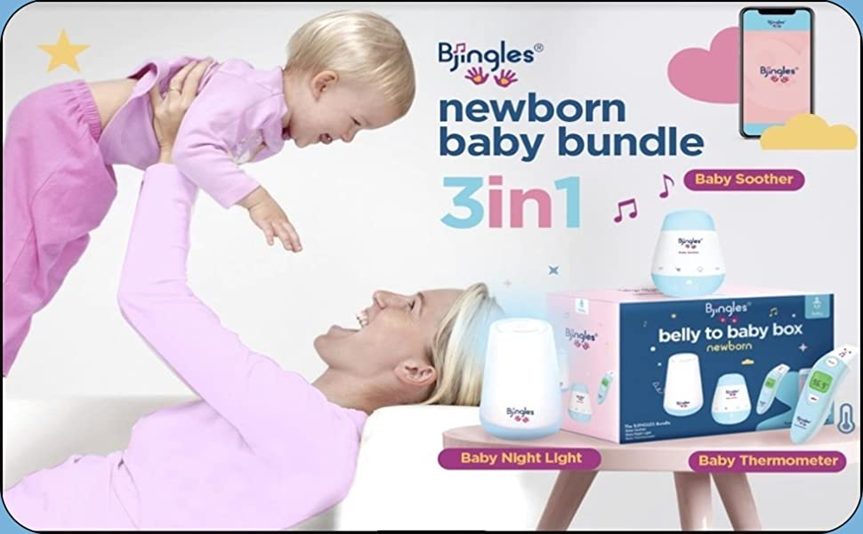 Newborn Baby Bundle, Baby Night Light, Baby Soother, Baby Thermometer, Baby App with Fun Features