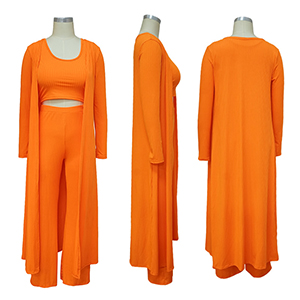 Orange 3 Piece Outfit For Women