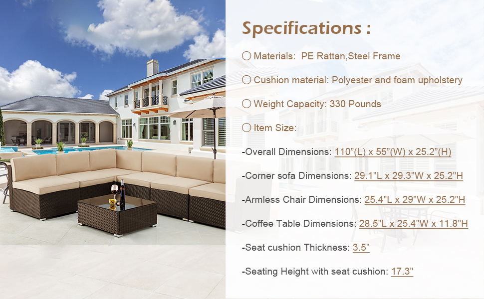 7 piece outdoor furniture set