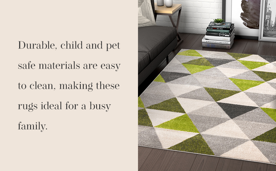 Well Woven area rug low pile modern geometric blue yellow red green stain resistant child pet safe