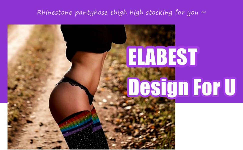 Rhinestone Pantyhose Thigh High Sock