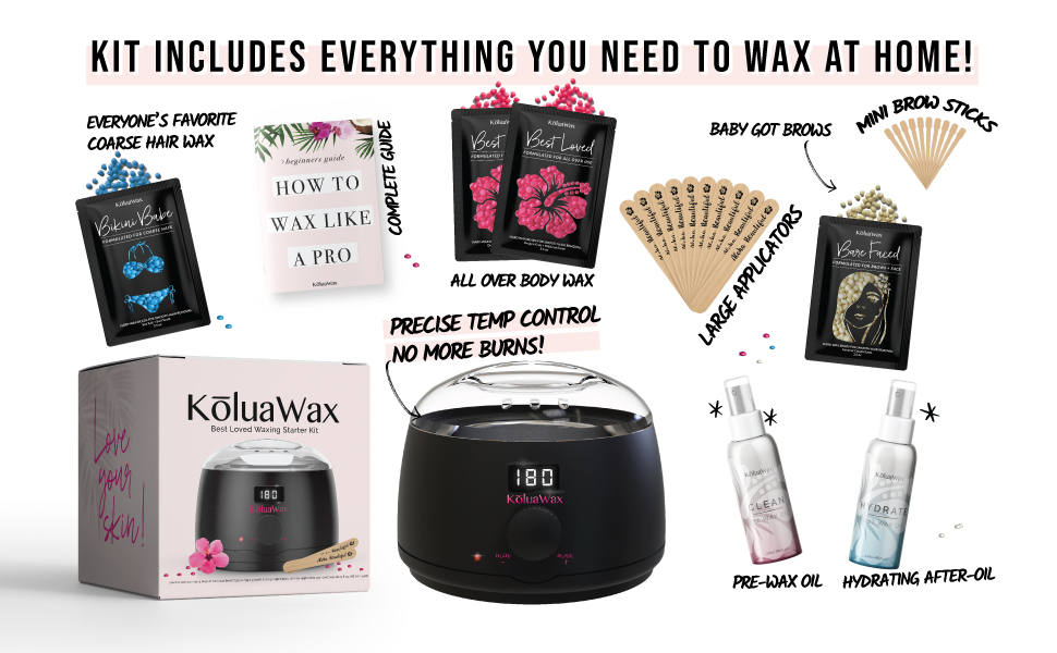 koluawax waxing starter kit includes warmer, applicators, hard wax beans, and before and after oil