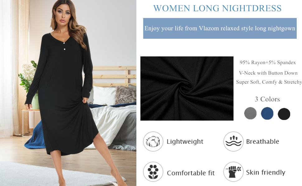 Vlazom Women's Nightgowns V Neck with Button Placket