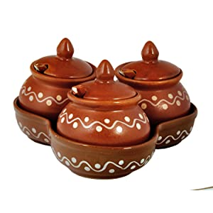 ceramic handmade serving pickle jars set of 3 storage container for home dinning table condiment set