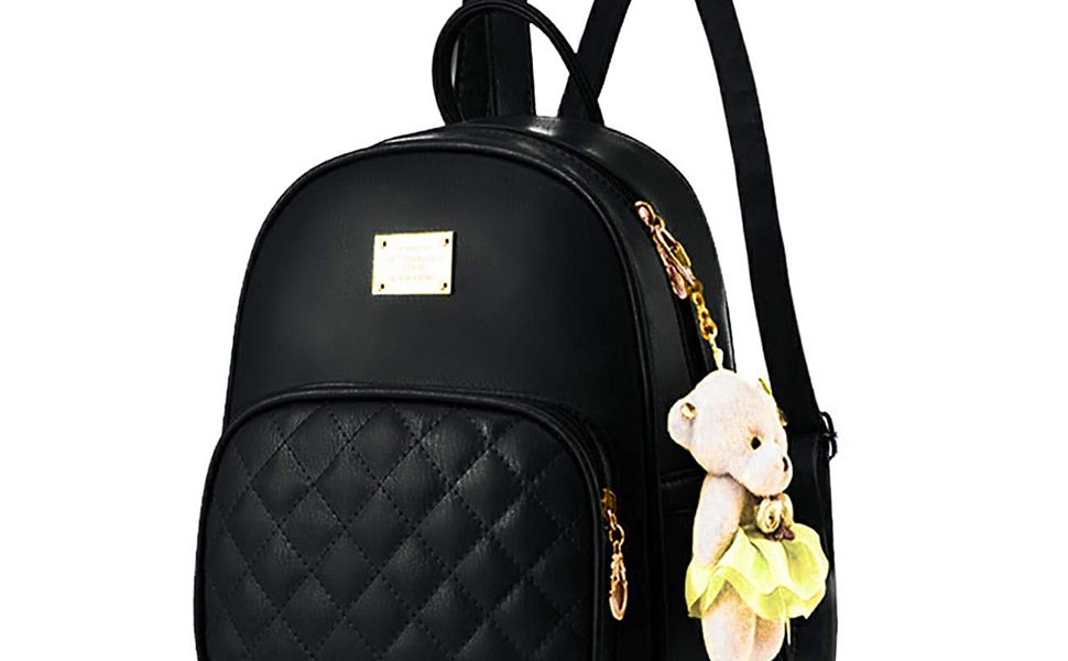 PAGWIN Women's Pu Leather Black Color Backpack