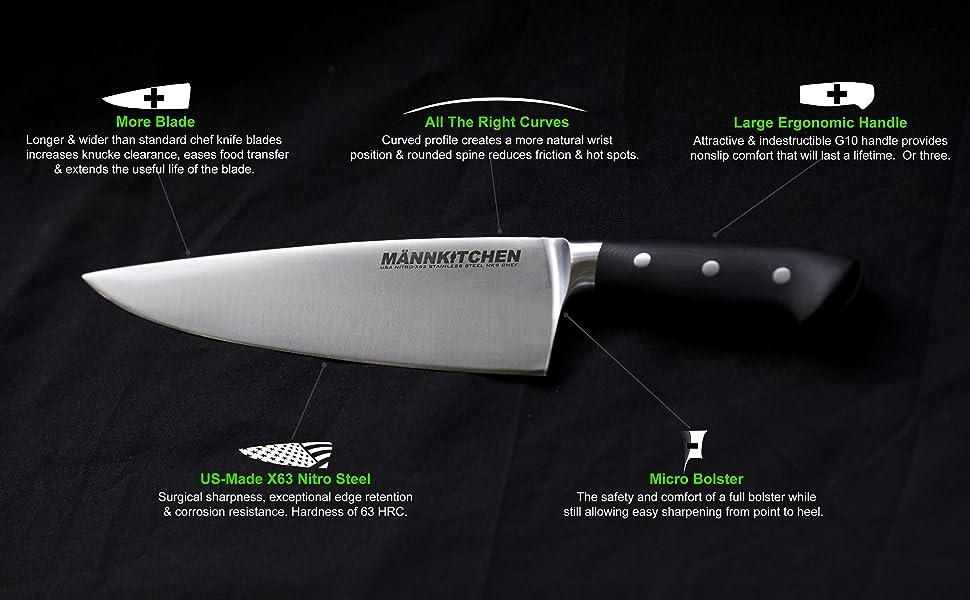 mannkitchen mk 9 inch chef knife men man large hands big wide stainless steel professional chef