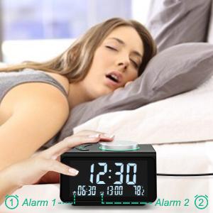 Temporizador Sue/ño Medidor Temperatura USB Proyecci/ón Horaria Modo Noche Inteligente Alarma FM Radio NK Radio Despertador Digital