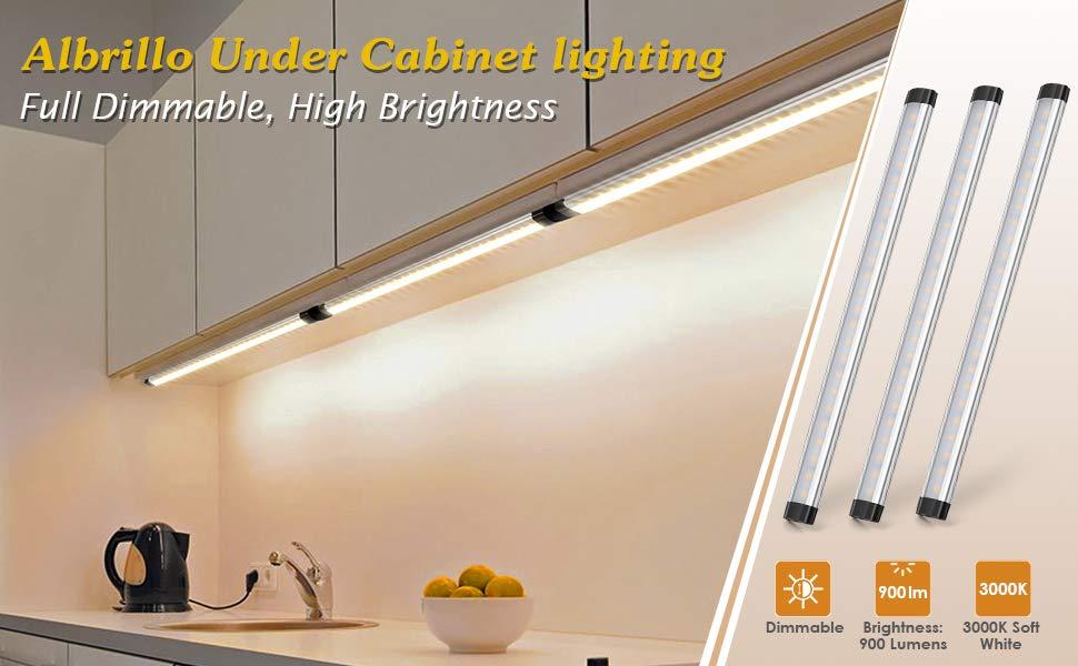Amazon Com Albrillo Dimmable Remote Control Led Under Cabinet Lighting For Kitchen Cupboard Shelf Closet 3 Bar Kit Warm White 3000k Home Improvement