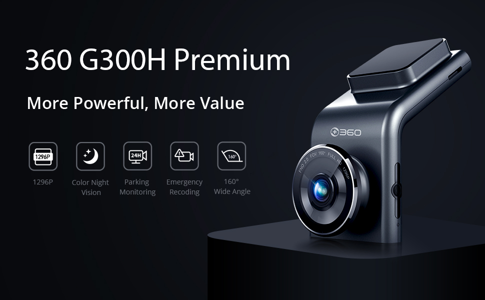 360 G300P Dash Cam, 1296P,160° Wide angle,Color Night Vision,Parking Monitoring, Emergency Recoding