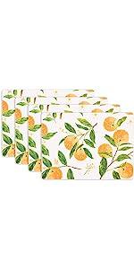 KAF Home Citrus Oranges Print Cork Backed 4 Piece Place Mat Set