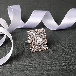Rose gold finger ring, women stylish, finger rings for girls Cocktail finger ring