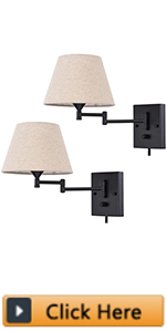 Plug in Wall Sconce Set of 2 Swing Arm Wall Lamp with Plug in Cord and Fabric Shade Wall Light