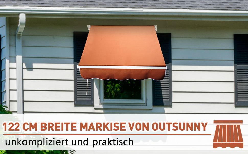 Alu Markise Balkon Klemmmarkise Fallarmmarkise Fenster Braun 122x70 cm