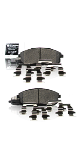 brake pads, front, rear, clips, hardware, quiet, noise-free, shims, low dust
